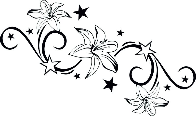 lilie stern ranke aufkleber ornament blume sticker vw bmw