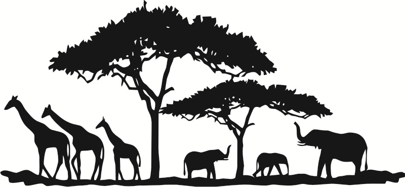 wandtattoo savanne afrika elefant giraffe safari xxl 1 ebay. Black Bedroom Furniture Sets. Home Design Ideas
